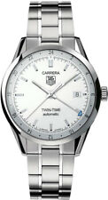 WV2116.BA0787 TAG HEUER CARRERA AUTOMATIC SILVER TWIN TIME GMT STEEL MENS WATCH