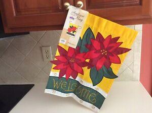 """NWT - Toland """"Christmas Poinsettia"""" Applique Garden Flag  13"""" x 18"""""""