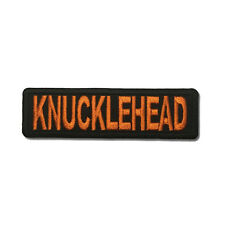 Embroidered Knucklehead Orange on Black Sew or Iron on Patch Biker Patch