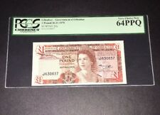 PCGS Currency Graded Government Of Gibraltar 1 Pound Banknote 1975 P20a