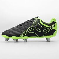 Gilbert Side Logo Rugby Boots Mens Black/Yellow Football Cleats Sports Footwear
