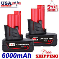 2X For Milwaukee M12 48-11-2460 48-11-2402 XC Extend Battery Pack Lithium 6.0Ah