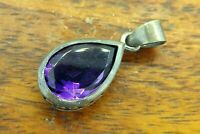 Vintage sterling silver PEAR SHAPED AMETHYST PATINA PENDANT charm