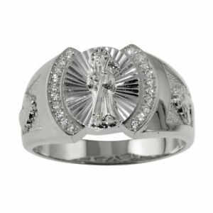 Herren Sterlingsilber Santa Muerte Ring W / Cubic Zirkonia Steine