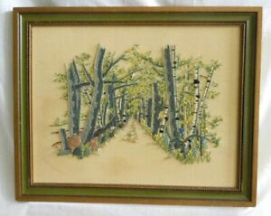 Southern Country Tree Lined Dirt Road Landscape Vintage Mod Crewel Embroidery
