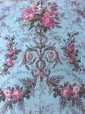 French Antique Pink Rococco Roses & Scrolls On Sky Blue Ground Textile c1870