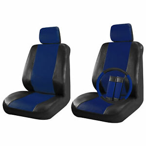 Faux Leather Car Seat Covers Black / Blue 9pc Set Front Seats Steering/Belt Pad