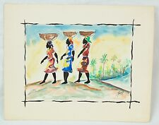 Colorful Haitian Original Watercolor by Joseph Thony Moise Three Women