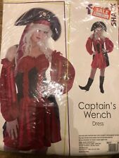 ADULT WOMENS CAPTAIN WENCH PIRATE FANCY DRESS COSTUME - SMALL 8-10