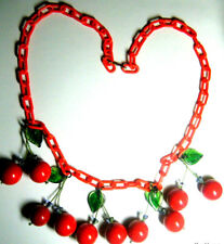 Vintage Repurposed Lucite Cherry Art Necklace RED Plastic Chain Glass Leaf Beads