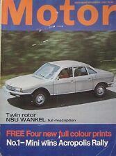 Motor magazine 9/9/1967 featuring NSU Ro80, Austin Healey Sprite road test