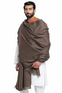 "Gray Men's Plain Woolen Dhariwal Lohi Shawl Scarf Scarves 50"" X 100"""