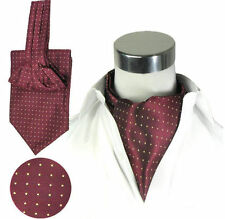 LJ04-11 Wine Red Mens Stain Silk Ascot Tie Cravat Self Tied Gold Polka dots Ties