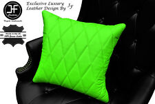 """LIME GREEN LEATHER 1X EXCLUSIVE LUXURY CUSHION DIAMOND STITCH PADDED 18""""x18"""""""