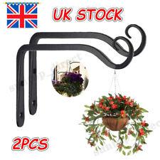 More details for 2 x metal hanging basket brackets outdoor garden plant hanger hook wall decor