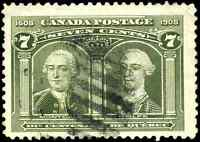 Canada #100 used F-VF 1908 Quebec Tercentenary 7c Montcalm & Wolfe JUMBO margins