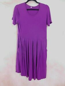 Womens Fit and Flare Dress with Pockets Size Large Purple Short Sleeve