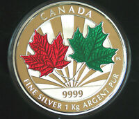 2014 Canada Maple Leaf Forever Enameled Kilo of 99.99% silver -- 548 minted!
