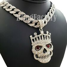 """Hip Hop Crowned Skull Pendant & 18"""" Full Icy Cuban Choker Chain Necklace Set"""