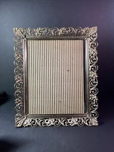 Vintage Brass White Shabby Metal Lace Edge Picture Frame 9.5 x 7.5