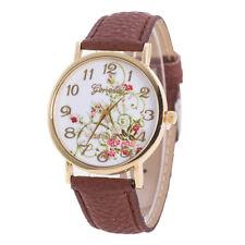 2018 Geneva Fashion Women Flowers Watches Sport Analog Quartz Wrist Watch Brown