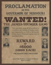 "James Younger Gang,  Wanted poster, Jesse James, 14""x11"" - Western outlaw"