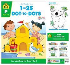 School Zone Numbers 1-25 Dot-to-Dots Paperback Preschool Workbook Kindergarten