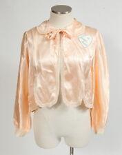 Vtg 50s Retro Light Pink Sweet Heart Patch Silky Satin Crop Nightie Jacket Top M