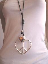 Modekette Bettelkette Damen Hals Kette Leder lang XL Silber Schwarz Herz Peace !