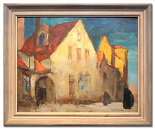 KNUT NORMAN 1896-1977 / HOUSES - Original Swedish Art Oil Painting