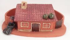 Signed Anabela Mendes Coimbra Portugal Folk Art Pottery Dish House & Courtyard