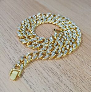 CZ Stone Gold Plated 14mm Cuban Chain Necklace (18 to 24 Inches)