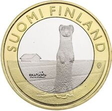 5 euro commémorative FINLANDE 2015 - Animals  - Ostrobothnia  Stoat - L'Hermine