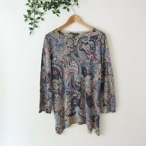Lauren Ralph Lauren Womens 3/4 Sleeve Lightweight Silk Top XL Paisley Brown Blue