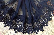 Black Floral Lace Trim Cotton Embroidery Tulle Lace Trim 8.66 X012
