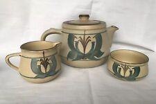 More details for vintage1970s honiton studio pottery h/painted teapot/milk jug/sugar bowl signed