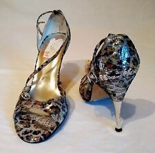 NEW IN BOX SIZE 7 FAITH @ TOPSHOP ANIMAL LEOPARD PRINT METALLIC FOIL METAL HEELS