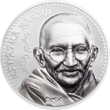 2020 MONGOLIA 1000 Togrog - GANDHI 1oz 999 Silver Proof Coin with Box and COA