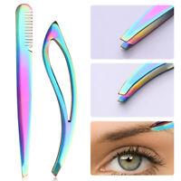 Stainless Steel Eyebrow Tweezer Flat Tip Hair Clip Remover Makeup Tool