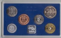 JAPAN – RARE 6 DIF UNC COINS SET: 1 - 500 YEN 2004 YEAR MINT BANK
