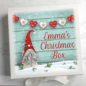 Personalised white box, Gonk Gnome, any name, keepsake box, Christmas Eve box,