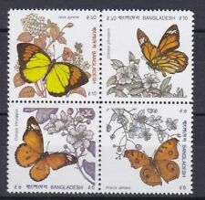 Bangladesh 1990 Farfalle e fiori 327-30 MHN
