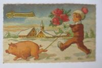 """ New Year, Children, Pig, Roses "" 1950 (52580)"