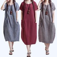 Womens Short Sleeve Baggy Long Dress Pocket Summer Cotton Tunic Kaftan Plus Size