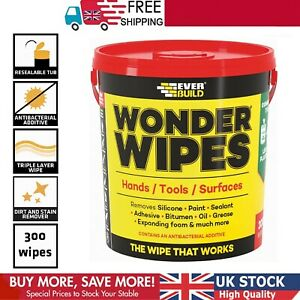 Everbuild Wipes 300 Wonder Wipes Evbgiantwipe Multi-Use Cleaning Wipes Clear