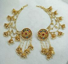 Indian Women Bridal Earrings Gold Plated Jewelry Antique Bahubali Pearl Earcuffs