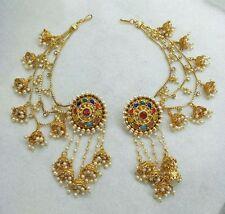 Indian Women Bridal Earrings Gold Plated Jewelry Antique Bahubali Pearl Earcuff