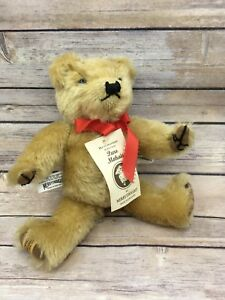 Merrythought Gold Mohair 580/1000 Jointed Teddy Bear with Tags Growler