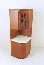 Dollhouse Miniature Walnut Tall Kitchen Corner Cabinet, T6832