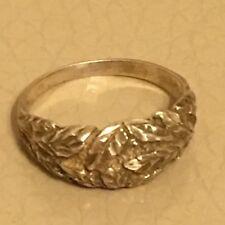Vintage Silver Ring Retro Mid Century Repousse Floral Leaf Plant Size J. 5.25